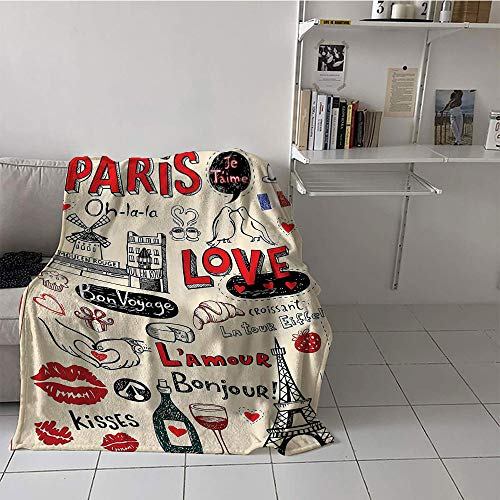 Khaki home Children's Blanket Cozy Flannel Print Artwork (60 by 80 Inch,Paris City Decor Collection,Paris Love Doodles Coffee Wine Glass Croissant Cheese Cupcake Kiss Sketchy Art Image,Red Black