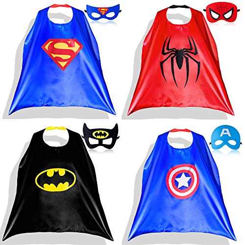 Lazu Superhero Dress Up Costumes 4 Satin Capes with Felt Masks