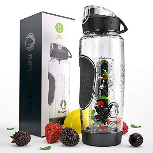 Infusion Pro 32 oz. Infused Water Bottle bpa Free with Insulated Sleeve & Fusion eBook :: Bottom Loading, Large Cage for More Flavor & Pulp Strainer :: Delicious, Healthy Way to Up Your Water Intake ()