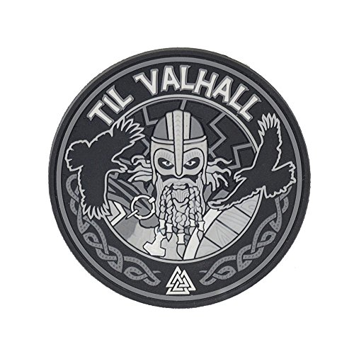 Viking Patch (Til Valhall PVC 3D Patch Viking Military & Tactical Army Morale Velcro Hook (Grey))