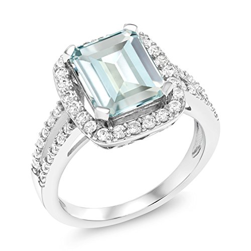 Gem Stone King Sky Blue Simulated Aquamarine 925 Sterling Silver Women's Ring 3.72 Ct Emerald Cut (Size 9)