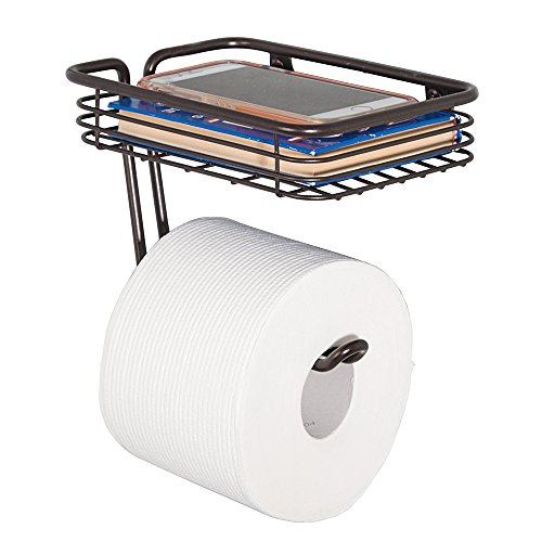 mDesign Wall Mount Toilet Tissue Paper Roll Holder and Dispenser with Storage Shelf for Bathroom Storage - Wall Mount, Holds and Dispenses One Roll - Durable Metal in Bronze