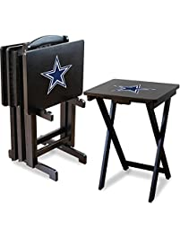 Imperial Officially Licensed NFL Merchandise: Foldable Wood TV Tray Table  Set With Stand, Dallas
