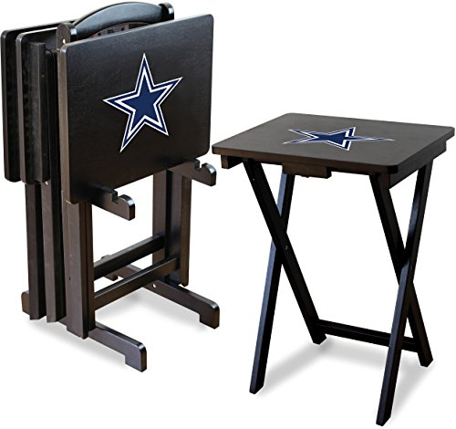 - Imperial Officially Licensed NFL Merchandise: Foldable Wood TV Tray Table Set with Stand, Dallas Cowboys