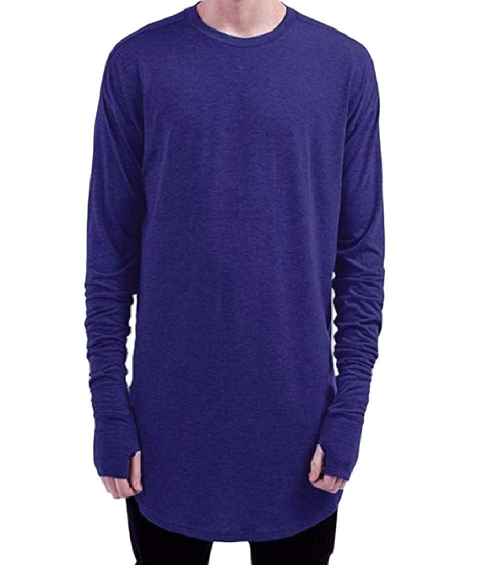 Fseason-Men Round Neck Top Loose Solid Holes Casual Fashion Tunic Shirt