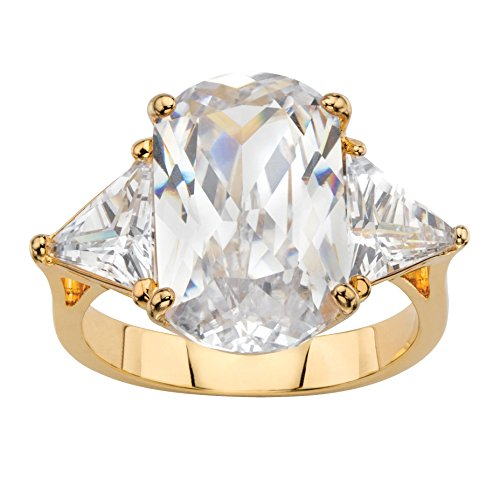 Palm Beach Jewelry Oval and Trilliant-Cut White Cubic Zirconia 14k Gold-Plated 3-Stone Engagement Ring Size 8
