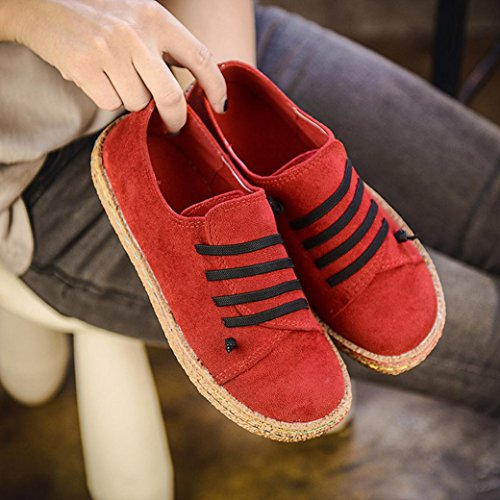 Tenworld Damesmode Sneakers Casual Loafers Plateau-schoenen Lace-up Faux Suede Mocassins Rood