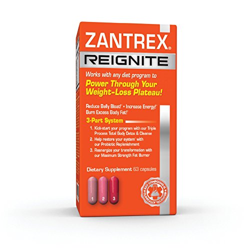 Zantrex Reignite - Supplement Designed to Overcome Diet Plateau, Reduce Belly Bloat, Increase Energy, Burn Excess Body Fat, Detox and Cleanse Total Body, and Provide Probiotic Replenishment (63 count)