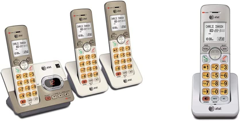 AT&T EL52313 3-Handset Expandable Cordless Phone & EL50003 Accessory Cordless Handset, White | Requires AT&T EL52103, EL52203, EL52253,EL52303, EL52353, EL52403, or EL52503 to Operate, silver