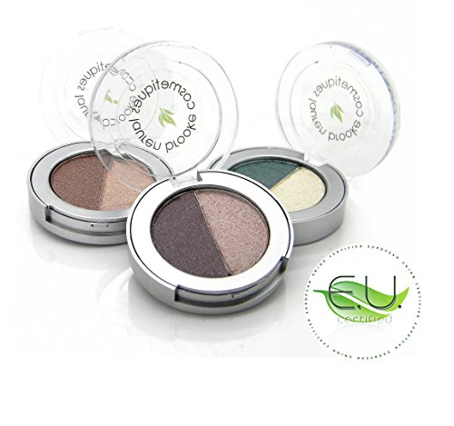 Lauren Brooke Cosmetiques Pressed Eyeshadow Duo, Natural, Organic Makeup (Toffee/Sandalwood) (Eye Shadow Toffee)