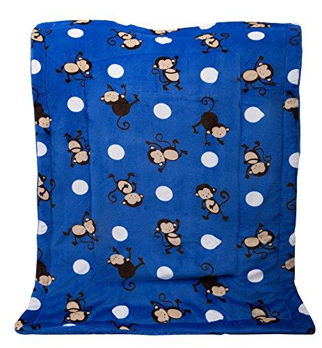 (Elegant Home Blue White Brown Monkeys Design Kids Soft & Warm Sherpa Baby Toddler Boy Blanket Printed Borrego Stroller or Toddler Bed Blanket Plush Throw 40X50 # Monkey)