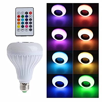 KingFurt LED RGB Color Bulb Light E27 Bluetooth Control Smart Music Audio Speaker Lamps