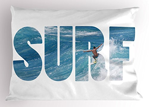 Lunarable Surf Pillow Sham, Surfer Riding Giant Majestic Ocean Wave in Hawaii Adrenalin Epic Athlete Sea Pacific, Decorative Standard Size Printed Pillowcase, 26 X 20 Inches, Blue White