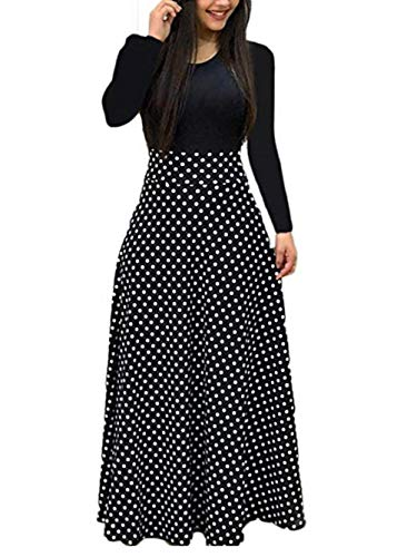 Voopptaw Women's Floral Print Long Sleeve Tunic Maxi Dress Casual Beach Long Dress Black ()