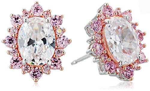 Rhodium and Rose Gold Plated Sterling Silver Oval White Cubic Zirconia 8x6mm and Pink Cubic Zirconia Halo Stud (Pink Halo Pattern)