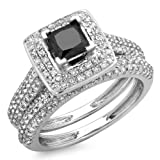 1.40 Carat (Ctw) 14K White Gold Princess & Round Cut Black & White Diamond Ladies Halo Bridal Engagement Ring With Matching Band Set (Size 7)