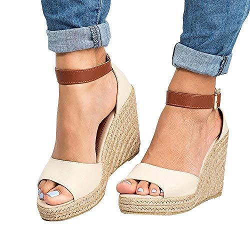 (Women Wedge Heel Sandals Casual Comfort Adjustable Buckle Shoes)