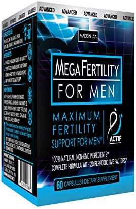 Actif Organic Mega Fertility Fertilmax for Men - Maximum Sperm Support - Non-GMO, Made in USA, 60 Count