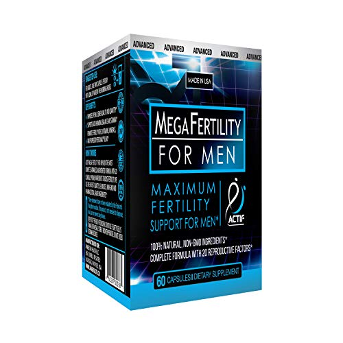 Actif Organic Mega Fertility Fertilmax for Men - Maximum Sperm Support - Non-GMO, Made in USA, 60 Count (Best Way To Increase Sperm)