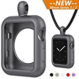 Apple Watch Necklace Pendant Apple Watch Silicone Band/Case/Cover Replacement for Series 3/ 2/ Nike+ (38mm Gray) - iWatch Pendant
