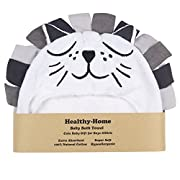 Healthy-Home Hooded Baby Bath Towel. Large 33x34 Inches,100% Organic Cotton, Extra Soft and Absorbent for Boy, Girl, Newborn, Infant or Toddler.Perfect for Baby Shower Gift.