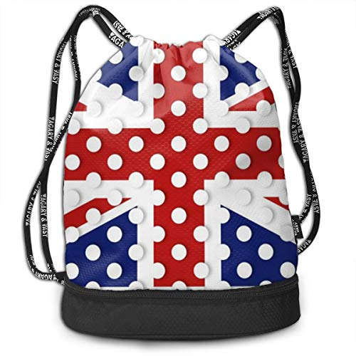 (Kji Gym Sack Drawstring Bag, England Flag Polka Dot Printed Sackpack, Sport Cinch Pack Backpack for Men, Women)