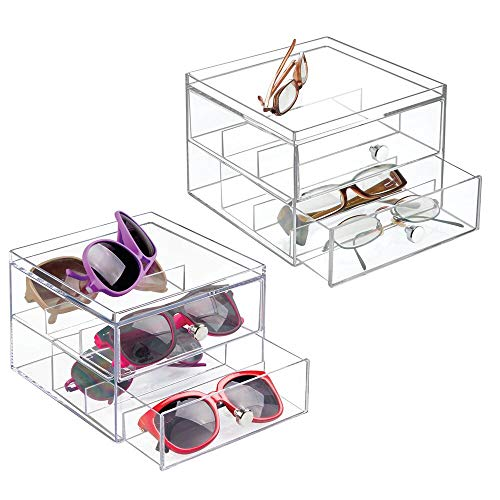 mDesign Stackable Plastic Eye Glass Storage Organizer Box Holder for Sunglasses, Reading Glasses, Accessories - 2 Divided Drawers, Chrome Pulls, 2 Pack - Clear (Eye Stackable)