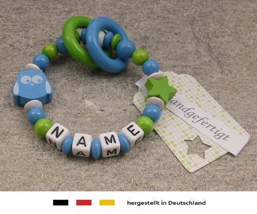 Baby Greifling Beißring geschlossen mit Namen | individuelles Holz Lernspielzeug als Geschenk zur Geburt & Taufe | Jungen Motiv Eule & Stern in sky blau