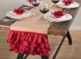 Capucine Ruffled Holiday Design Burlap Table Runner, Red and Natural Colors (16''x90'')