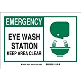 "Brady 83935 Self Sticking Polyester Alert Sign, 3 1/2"" X 5"", Legend ""Eye Wash Station Keep Area Clear (with Picto)"""