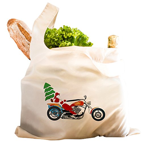 Reusable Shopping Grocery Bag White Holiday Biker Santa on his ()