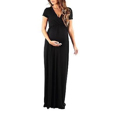 Maternity Dress Sunday77 Short Sleeve Solid V-Neck A-Line Plus Size Mini Dress Pregnant Women Ladies Wedding Evening Party