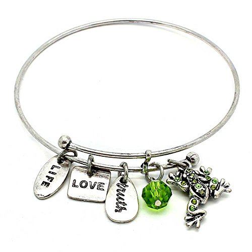- Symbology 'Frog' Bangle Bracelet, Silver - Expandable Wire Charm Bracelet Accented With Crystal Stones And One Shiny Glass Bead - Perfect Jewelry For Fashion