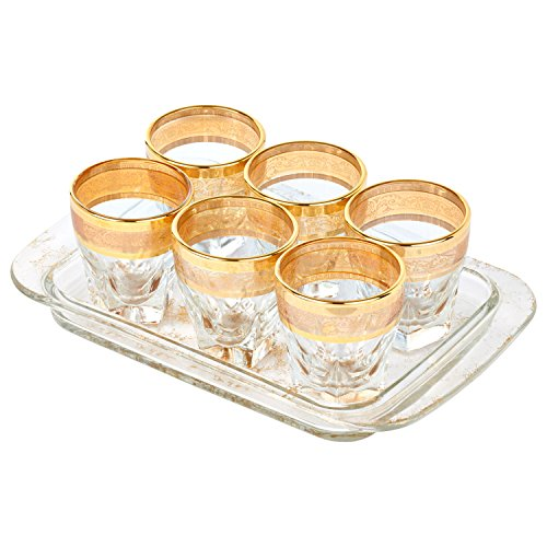 Lorren Home Trends 9444 7 Piece Shots with with Tray Set, Amber