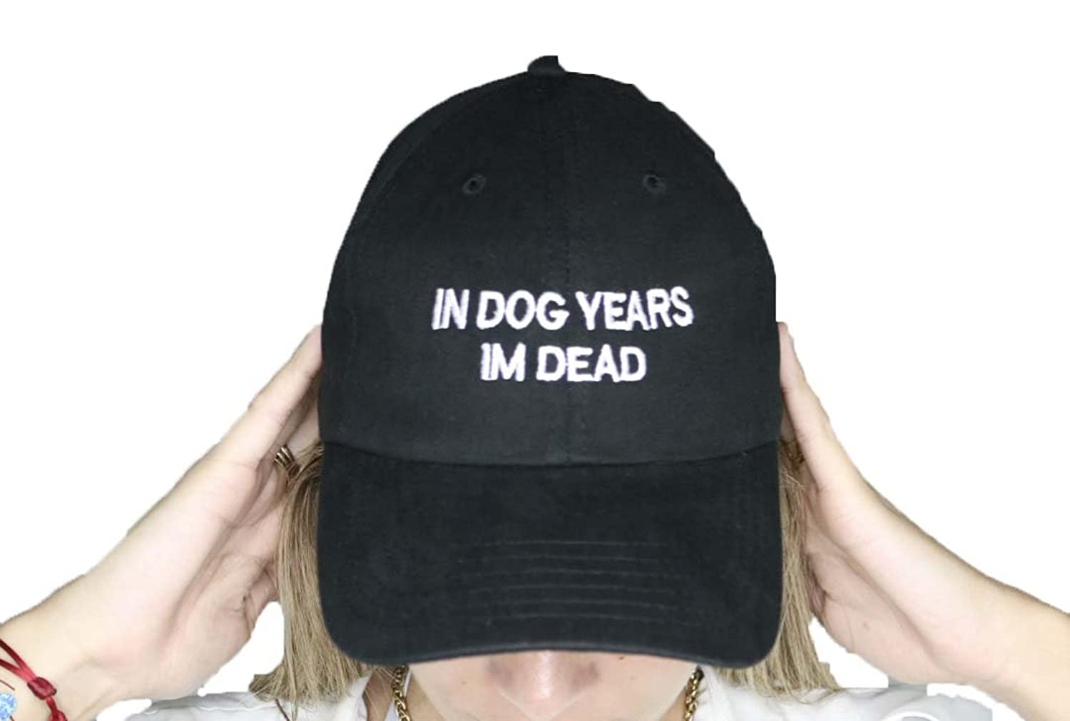 In dog years im dead black baseball cap with white embroidery on the front
