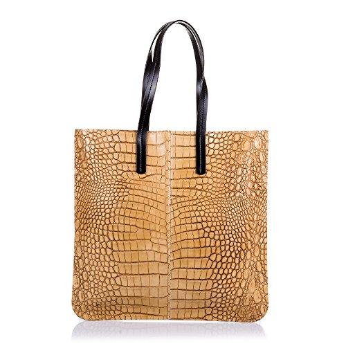 FIRENZE ARTEGIANI.Bolso shopping bag de mujer piel auténtica.Bolso GRANDE,cuero  genuino