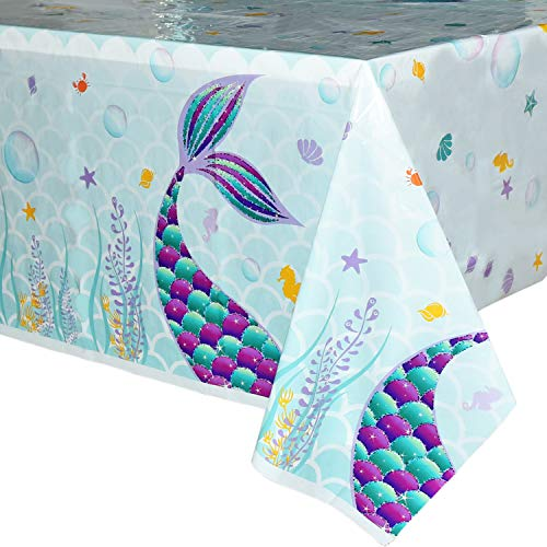 WERNNSAI Mermaid Table Cover - 4 PCS 71'' ×43'' Disposable Printed Plastic Tablecloth, Party Supplies for Kids Girls Birthday Wedding Baby Shower Mermaid Themed Party Decoration
