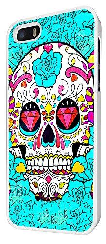 590 - Sugar Skull Skulls Multi tattoo Diamond eye Design iphone 4 4S Coque Fashion Trend Case Coque Protection Cover plastique et métal - Blanc