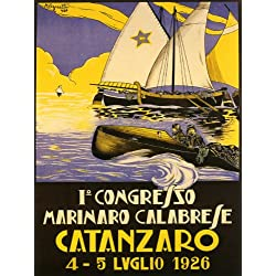 "Catanzaro 1926 City of the Two Seas Calabria Region Sailboat Italy Travel Italiana Italian 12"" X 16"" Image Size Vintage Poster Reproduction"