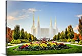 Scott Jarvie Gallery-Wrapped Canvas entitled Washington DC Temple with Flowers, South Kensington, Maryland