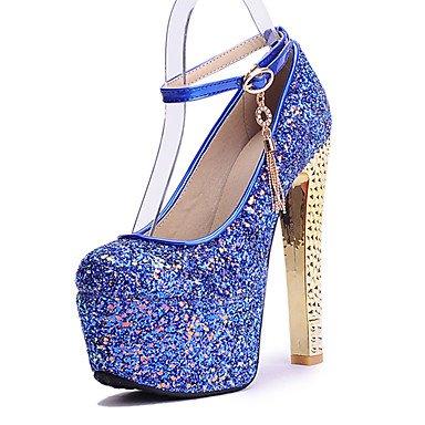 Talones de las mujeres Zapatos Primavera Verano Otoño Invierno otro club de cuero banquete de boda y vestido de noche de lentejuelas de tacón grueso BuckleBlue rosa Blue