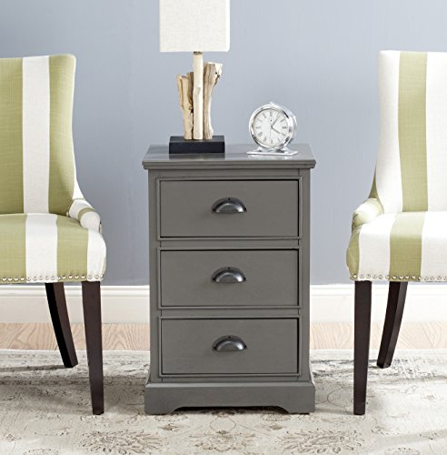 Safavieh American Homes Collection Griffin 3 Drawer Side Table, Grey (Accent Tables With Drawers)