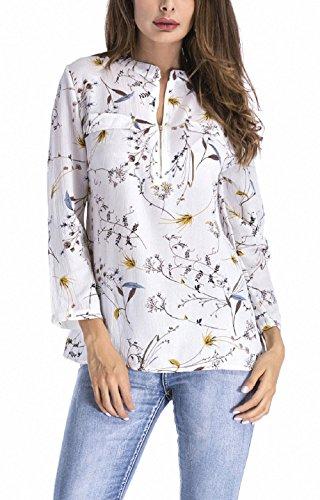 Automne Shirts Tops Irregulier Blouses Blanc3 et Femme Chemisiers New Haut T Longues Manches Printemps a5BPn5q8x