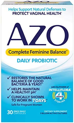 AZO Complete Feminine Balance Daily Probiotics for Women – 30 Count – Clinically Proven to Help Protect Vaginal Health – Clinically Shown to Work in 7 Days