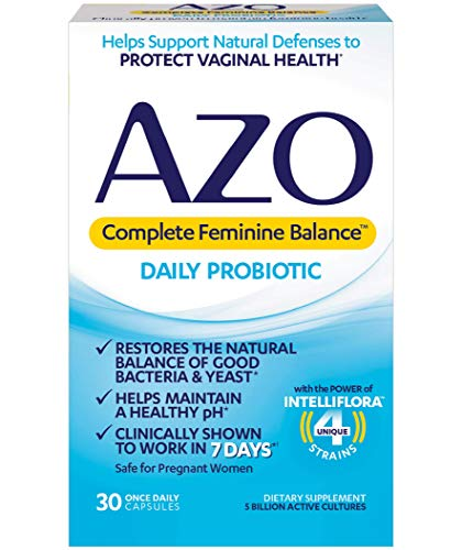 AZO Complete Feminine Balance Women's Daily Probiotic | Clinically Proven to Help Protect Vaginal Health | Clinically Shown to Work in 7 Days* | 30 Count (Pills To Prevent Pregnancy After 1 Week)