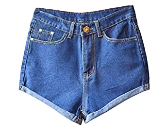 Juniors's Denim Vintage Retro High Waist Jeans Short at Amazon ...