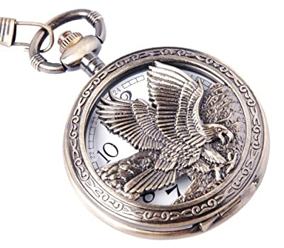 ShoppeWatch Eagle Pocket Watch And Chain Quartz Movement Arabic Numerals Half Hunter Vintage Design PW-65 from ShoppeWatch