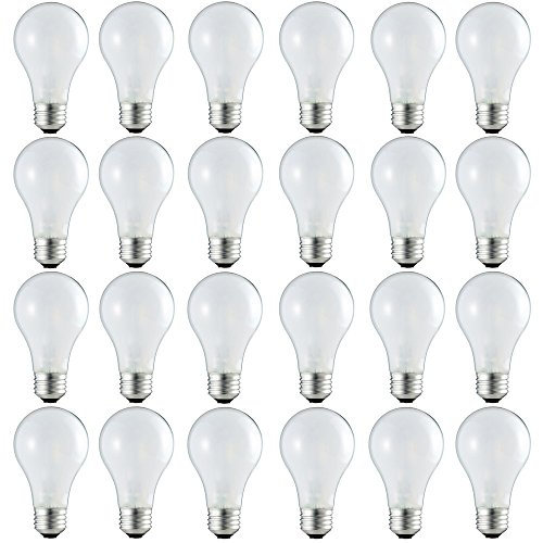Base Clear Halogen Lamp - Philips 409821 100 Watt Equivalent Halogen A19 Dimmable Light Bulb, Soft White, 24 Pack
