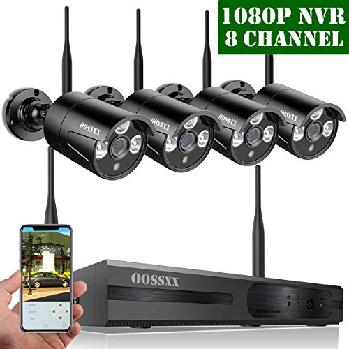 【2019 Update】 OOSSXX HD 1080P 8-Channel Wireless Security Camera System,4 pcs 720P 1.0 Megapixel Wireless Weatherproof Bullet IP Cameras,Plug Play,70FT Night Vision,P2P,App, No Hard ()