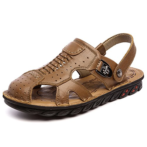 Navoku Men's Closed Toe Leather Casual Summer Sandals Brown 42 8.5 D(M) US by Navoku (Image #1)